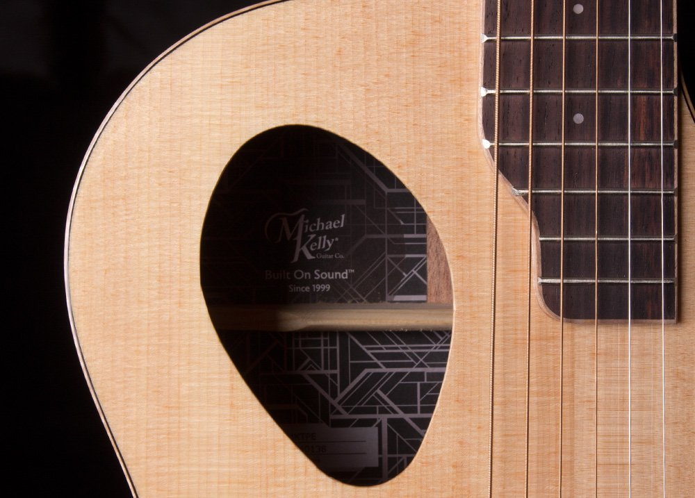 closeup of sound hole on acoustic