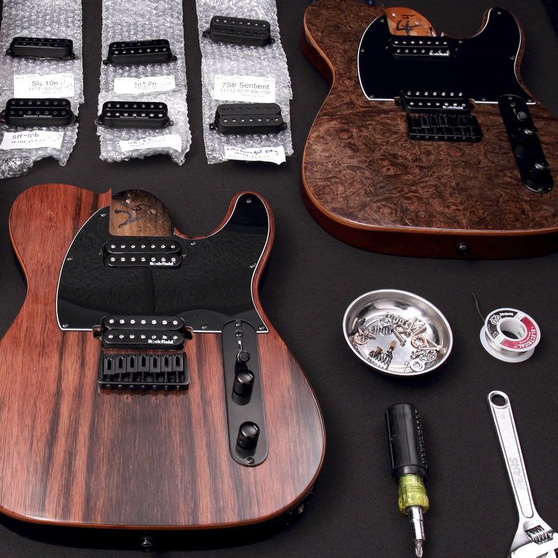 7-8 string electric guitar parts disassembled