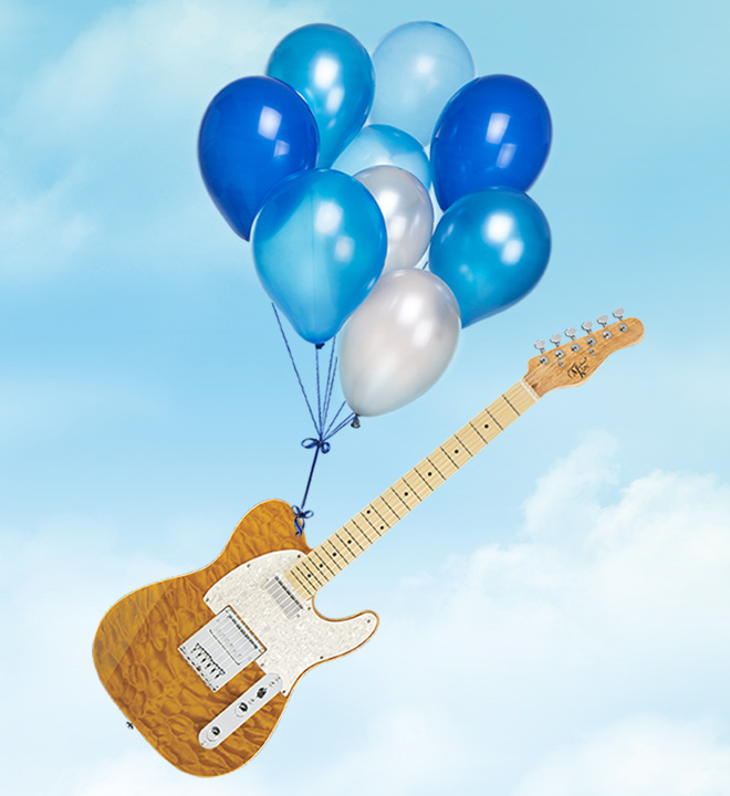 electric guitar being carried into sky by balloons