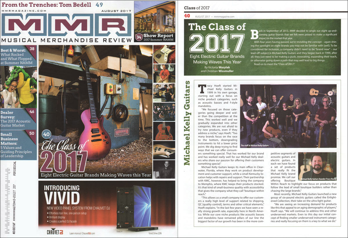 Michael Kelly Guitars named in top 8 brands of 2017 by MMR trade magazine